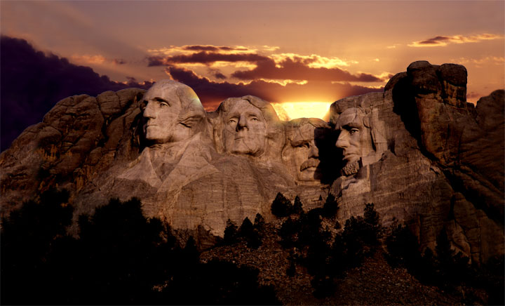 Image result for mount Rushmore night time