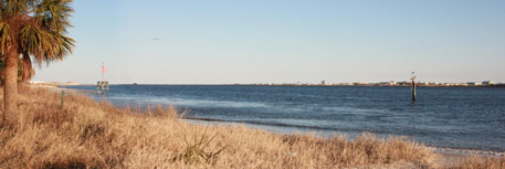 Huguenot Beach overlooking Mayport Naval Air Station