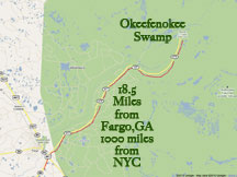 Okefenokee from NYC 1000 miles