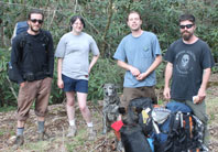 Backpacking Hikers: Jonathan Burkee, single, 27; Trina Westmoreland, single, 21; Jeff Micchelli, single, 30; Kevin Jameson single, 30; Moon Dog and Althea (not talking). Courageous young folks on a journey in the Nantahala National Forest without a map. Nice kids. Trina met up, safe and sound, with her friend in Brevard.