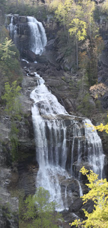 Upper Whitewater Falls is the highest waterfall east of the Rockies. The falls plunge an amazing 411 feet! Because of the escarpment's difficult access and rugged terrain, much of the area receives few visitors and has remained wild and undeveloped over the years.