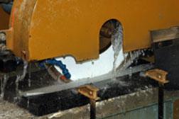A wet saw cuts granite like butter.